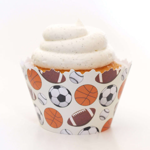 Sports Medley - Basketball, Football, Soccer & Baseball Athlete Cupcake Wrapper, Adjustable, Adjustable - Set of 12