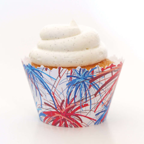 4th of July Red & Blue Fireworks - Happy Independence Day Cupcake Wrapper, Adjustable, Adjustable - Set of 12