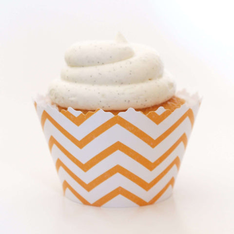 Gold Chevron Cupcake Wrappers, Adjustable - Set of 12