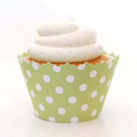 Light Green Polka Dot Cupcake Wrappers, Adjustable - Set of 12