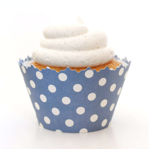 Navy Blue Polka Dot Cupcake Wrappers, Adjustable - Set of 12