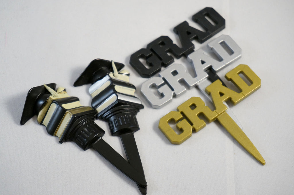 Graduation GRAD and Books Cupcake Toppers - Set of 24 Cupcake Decorations for Graduation Party