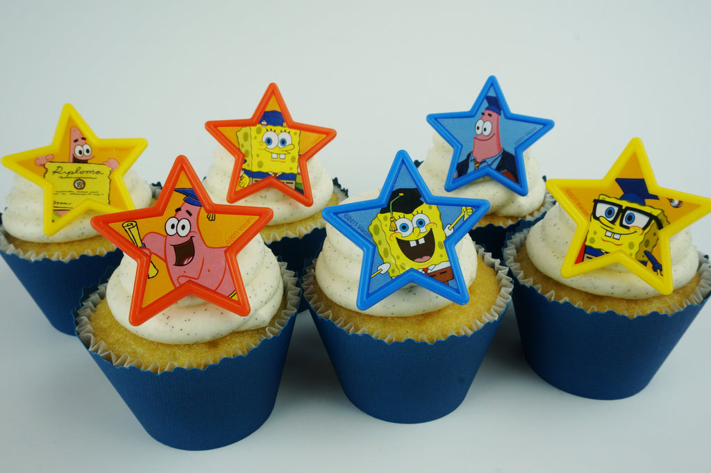 Spongebob Graduation Toppers - Set of 12