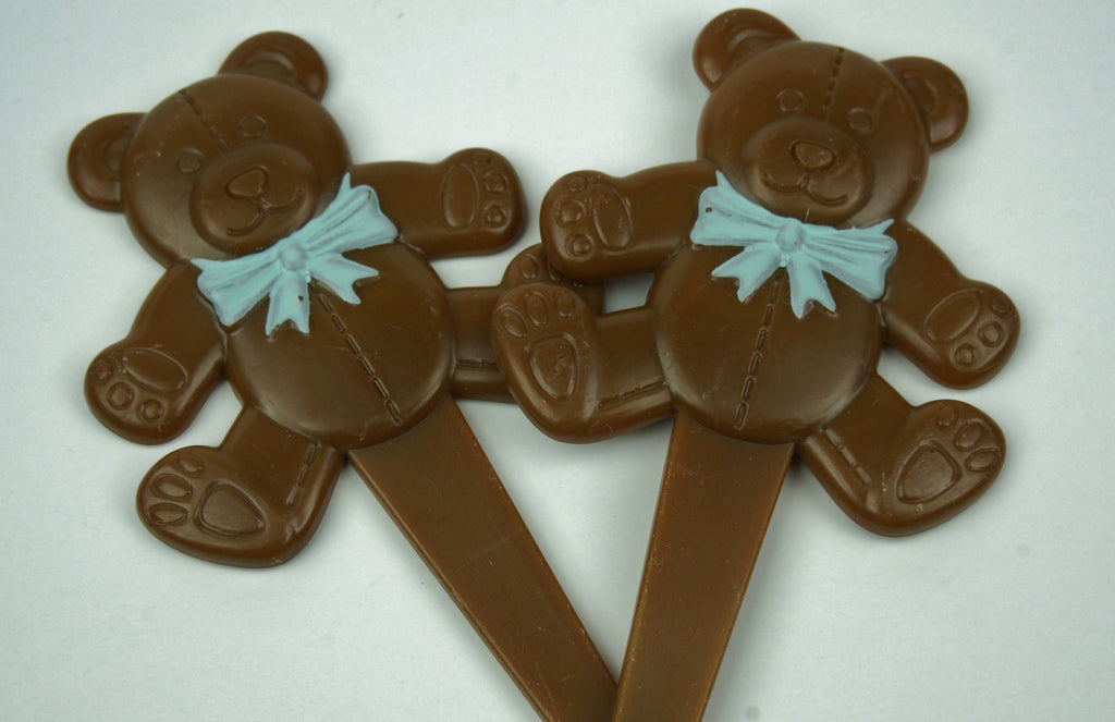 Bears with Blue Bow tie toppers - Set of 12