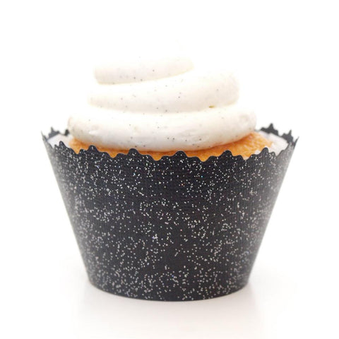 Glitter Black Midnight Sparkly Cupcake Wrapper, Adjustable, Adjustable - Set of 12