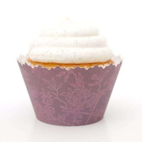Burnt Magenta Garden Oasis Cupcake Wrapper - Set of 12