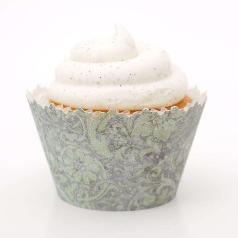 Simply Wrappers - Fern Green Floral Fantasy Cupcake Wrapper, Adjustable - Set of 12
