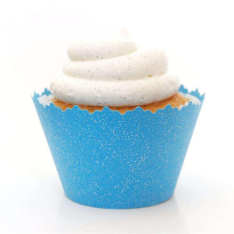Glitter Azure Sky Blue Sparkly Cupcake Wrapper, Adjustable, Adjustable - Set of 12