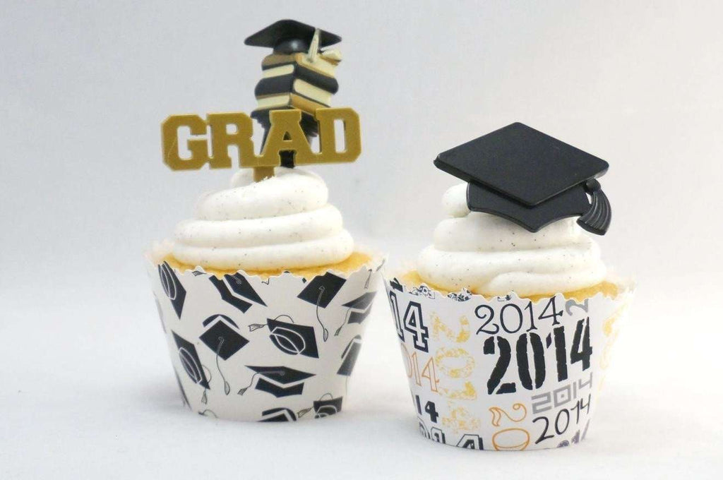 Simply Wrappers - Graduation cupcake toppers and wrappers -Graduation- set of 60 items
