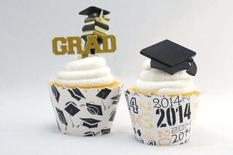 Graduation cupcake toppers and wrappers -Graduation- set of 60 items