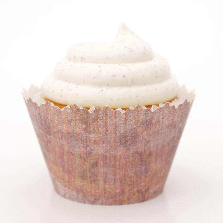 Simply Wrappers - Grayish Pink Dye Splatter Cupcake Wrapper, Adjustable - Set of 12