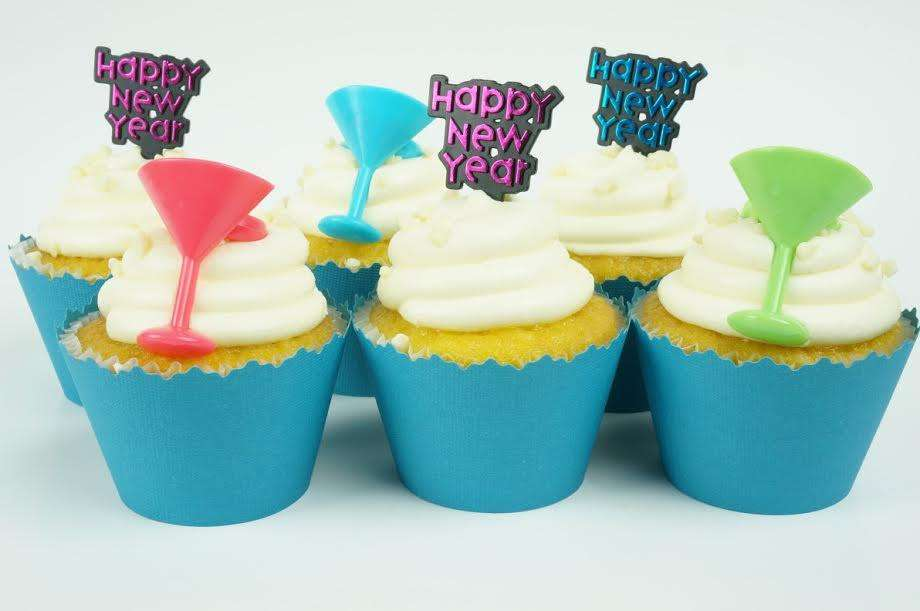 Happy New Year Cocktail glasses cupcake toppers - Set of ...