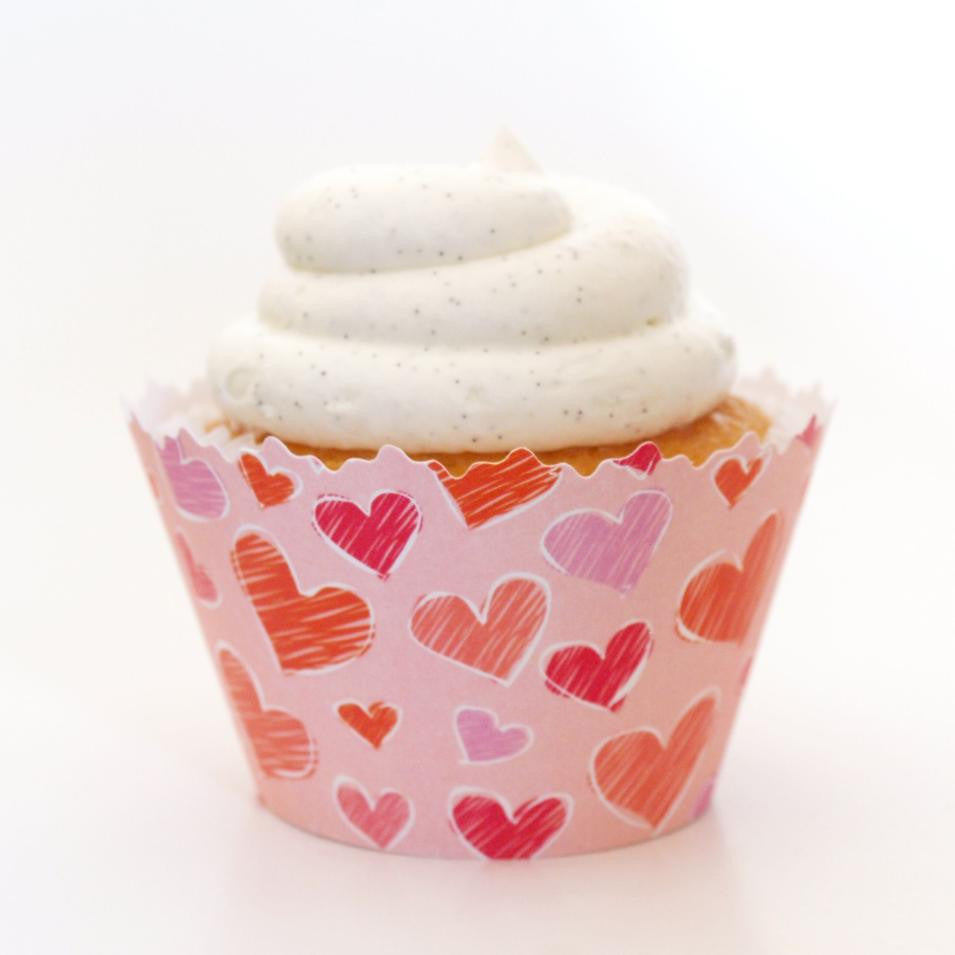 Simply Wrappers - Love Hearts: Red, Pink, Purple Valentine Heart Medley Cupcake Wrapper