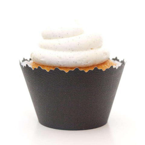 Black Solid Color Textured Cupcake Wrapper, Adjustable, Adjustable - Set of 12