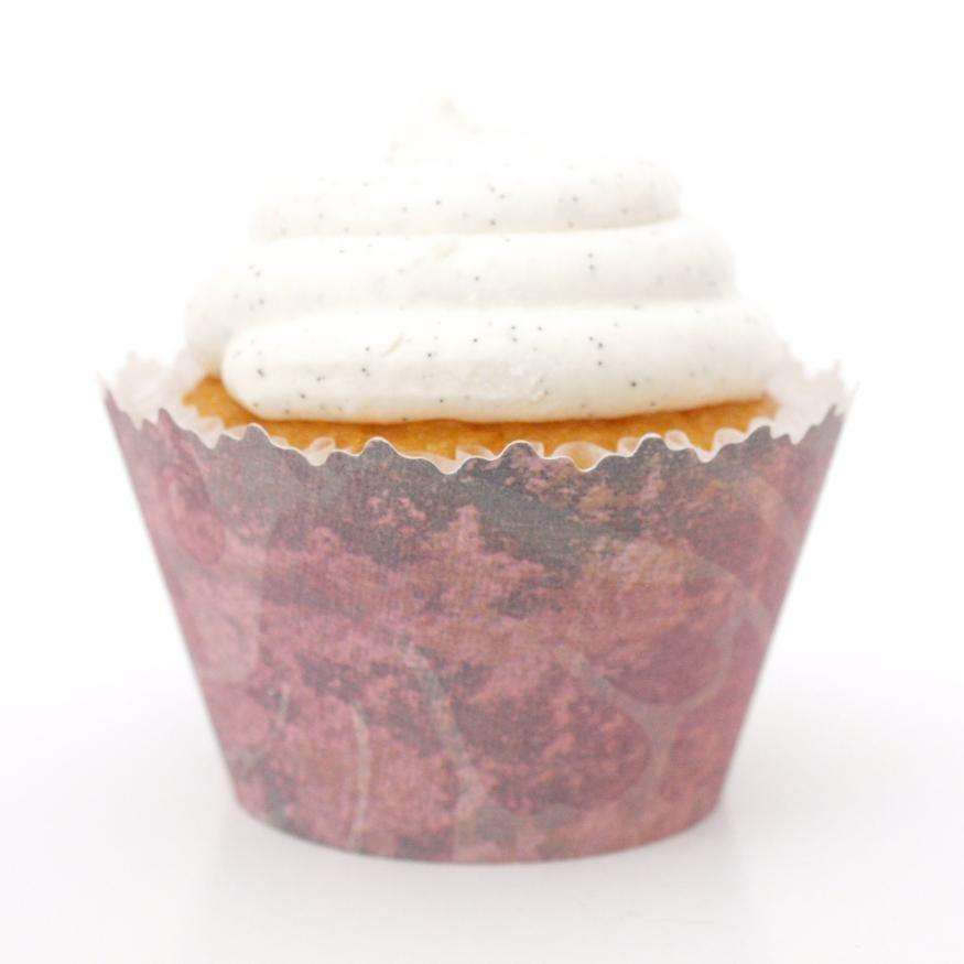 Simply Wrappers - Jungle Distressed Dirty Pink Print Cupcake Wrapper, Adjustable - Set of 12