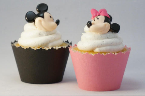 Mickey & Minnie Mouse Solid Color Textured Cupcake Wrappers with Toppers - Disney - Set of 48 Items