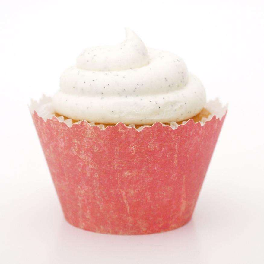 Simply Wrappers - Stone Washed Bright Citrus Pink Vintage Cupcake Wrapper, Adjustable - Set of 12