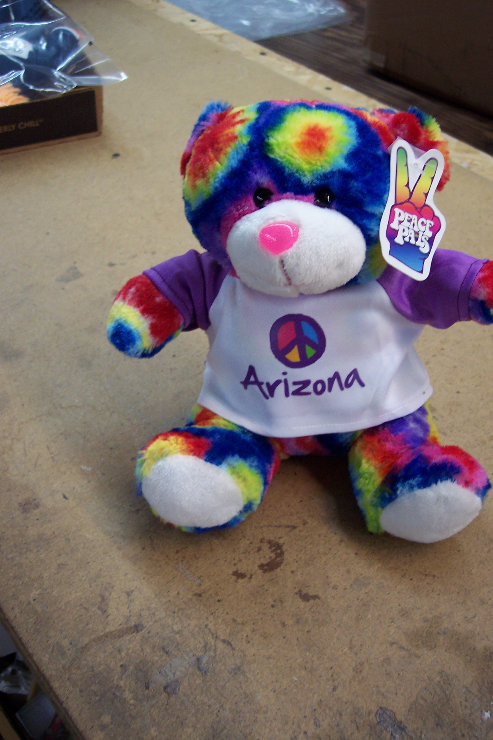 "9"" PEACE PAL TIE DYE TEDDY"