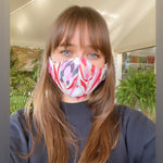 Load image into Gallery viewer, Red Proteas face mask with filter pocket and nose wire