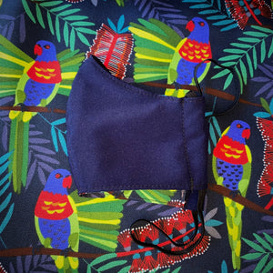 Lorikeets navy face mask with filter pocket and nose wire