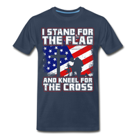 I Stand For The Flag And Kneel For The Cross Men's Premium Organic T-Shirt - navy