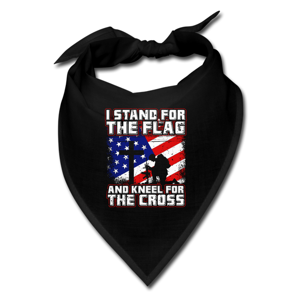 I Stand For The Flag And Kneel For The Cross Bandana - black
