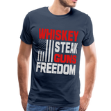 Whiskey, Steak,  Guns, Freedom Men's Premium T-Shirt - navy
