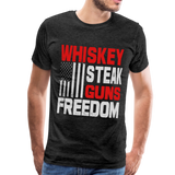 Whiskey, Steak,  Guns, Freedom Men's Premium T-Shirt - charcoal gray