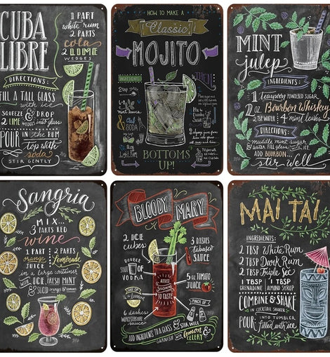 Cocktails Metal Wall Poster