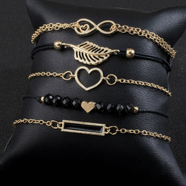 Jewelry Black Stone Heart Bracelet