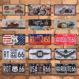 Vintage Wall Plate Licens and Vehicle