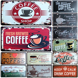 Vintage Coffee Metal Wall Plate