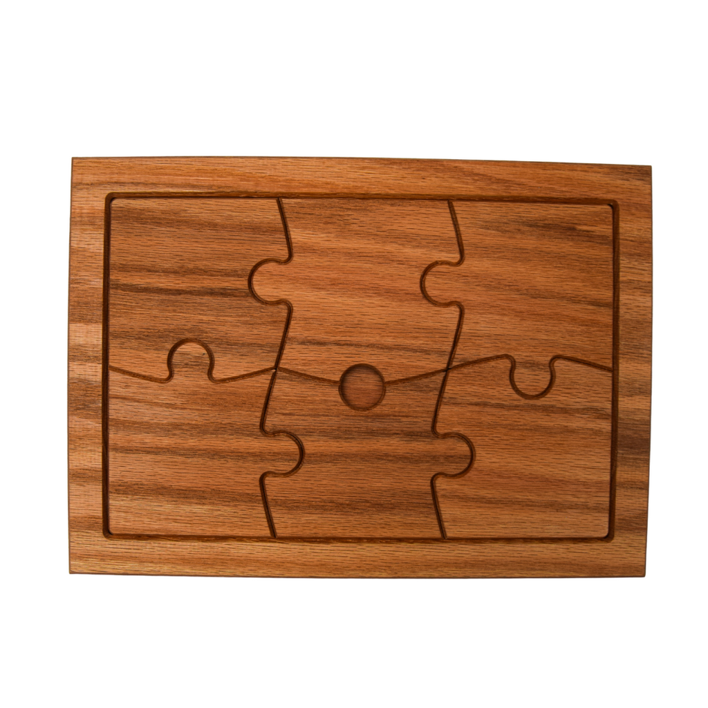 Tray and Puzzle Coasters Barware Set (Oak)