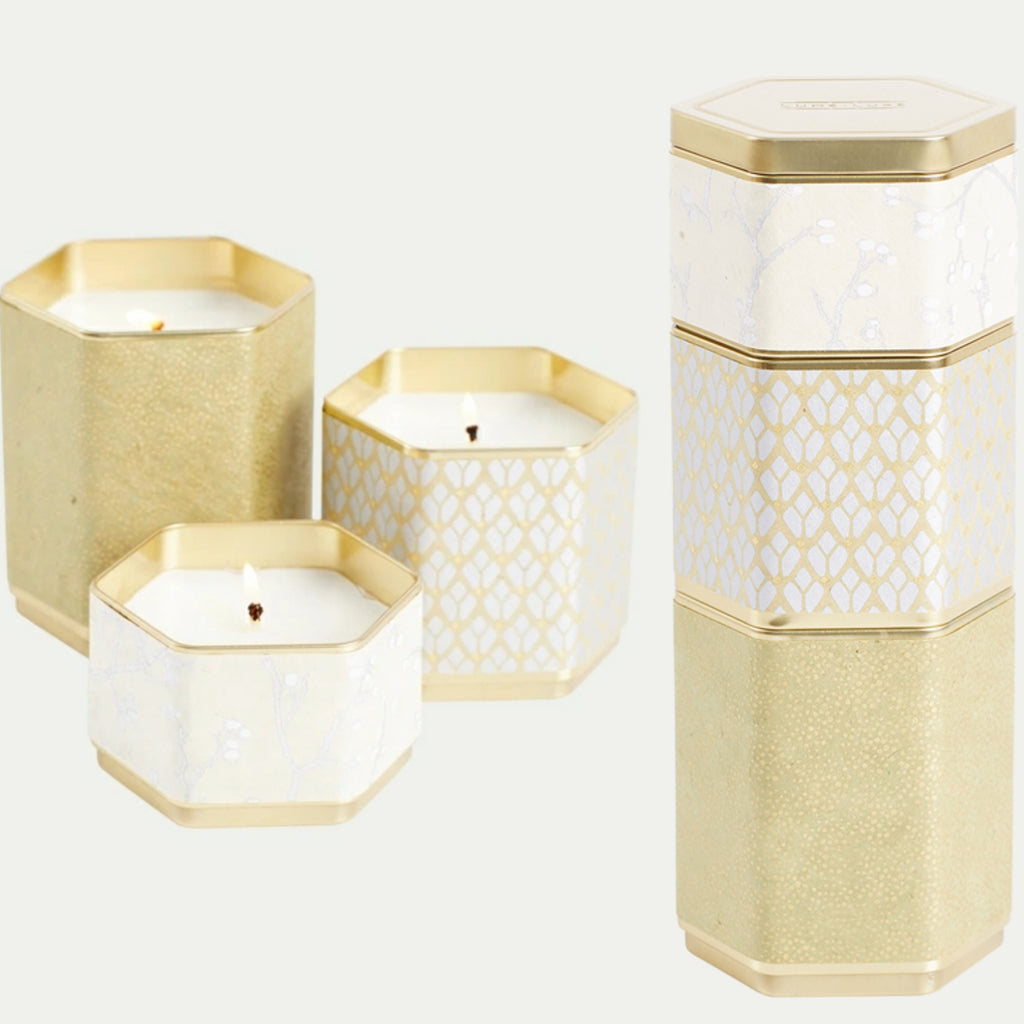 Hexagon Candles (stackable set of 3) various colours available