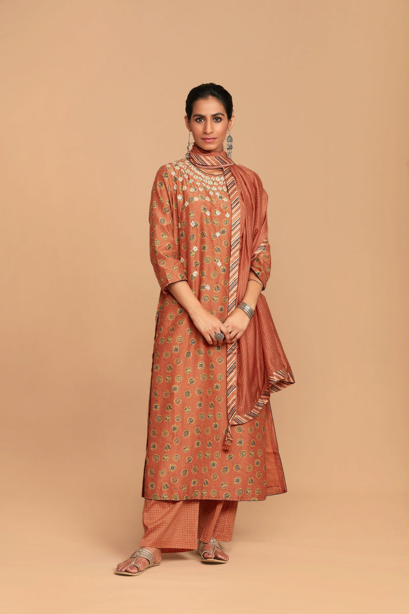 Aadhya Burnt Orange Ajrak Printed Kurta Palazzo Set - Monsoon.thedesignerstore