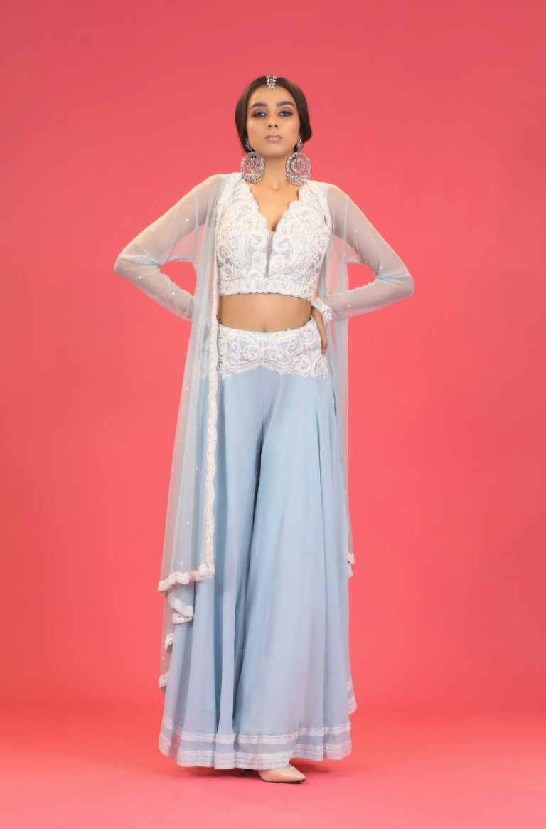 Aqua White Sharara Set - Monsoon.thedesignerstore