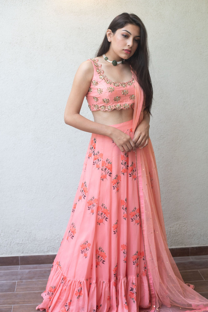 Baby pink floral lehenga - Monsoon.thedesignerstore