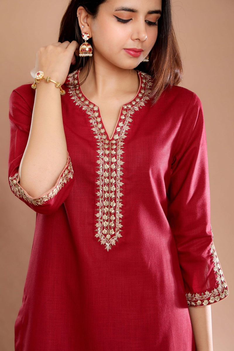 Burgundy heirloom suit with dupatta - Monsoon.thedesignerstore