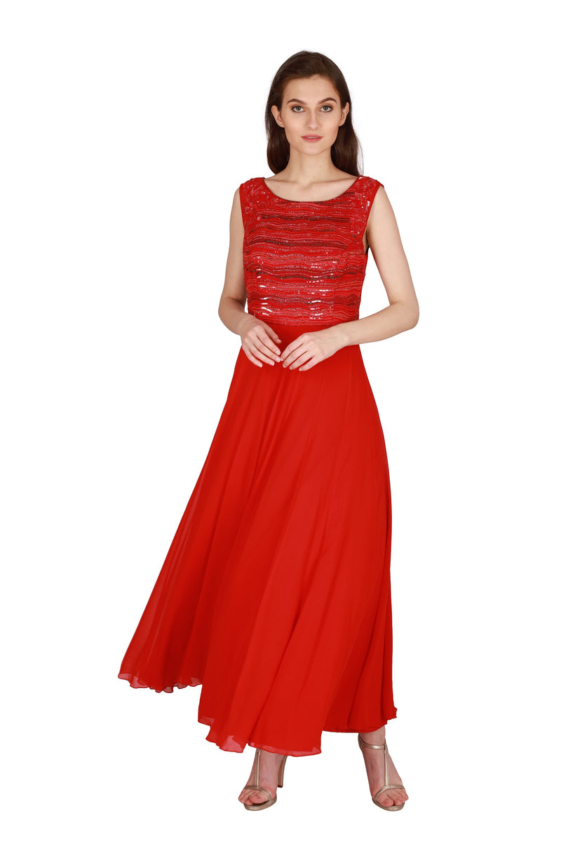 Cardinal red embroidered gown - Monsoon.thedesignerstore