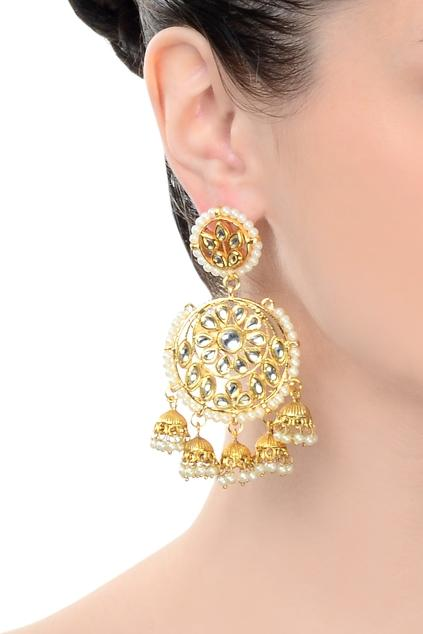 Chandbali kundan danglers - Monsoon.thedesignerstore