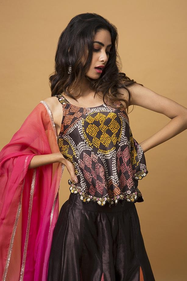 Charcoal Tank Top, Sharara Pants & Sunset Watercolor Ombre Stole - Monsoon.thedesignerstore