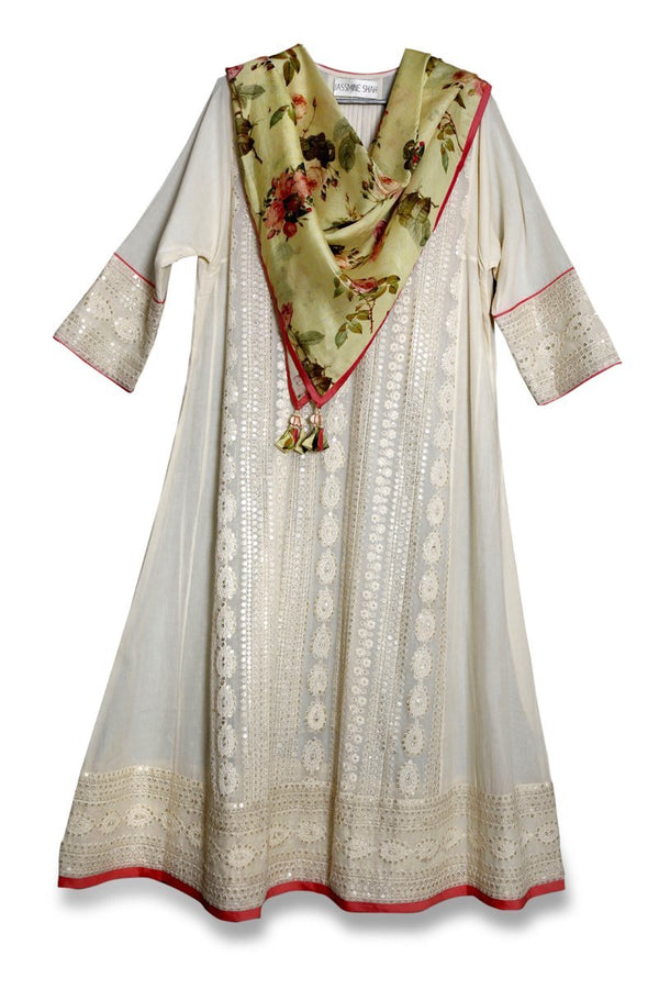 Cream Chikankari Big Kali Kurta with Stole (Optional Pants Available) - Monsoon.thedesignerstore