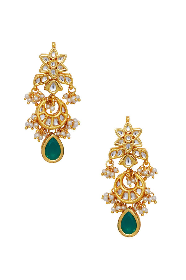 Emerald Flower Danglers - Monsoon.thedesignerstore