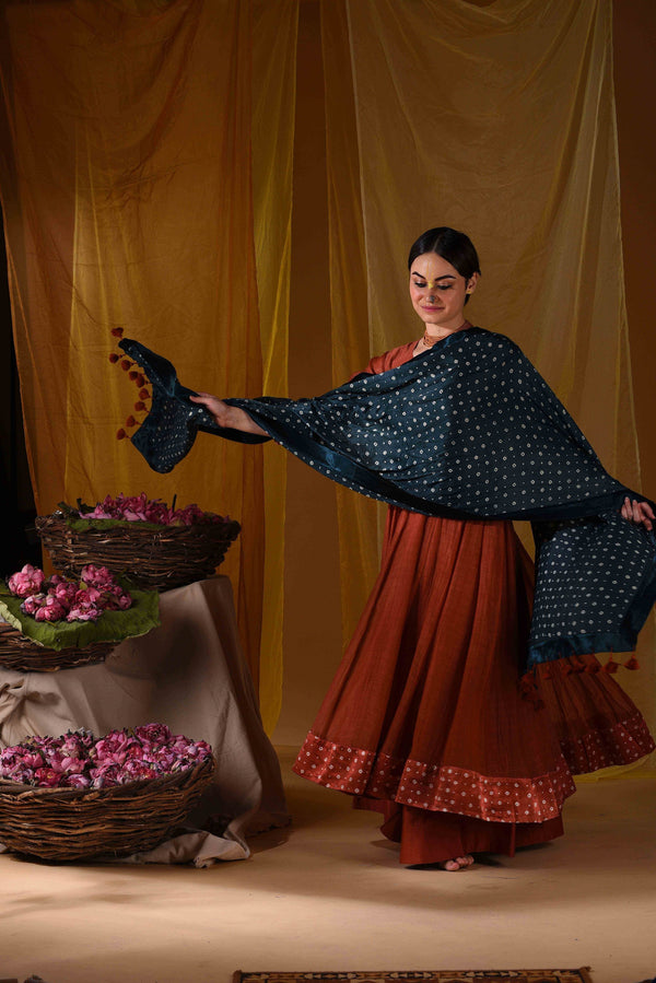 Kalidar with palazzo and duppata - Monsoon.thedesignerstore