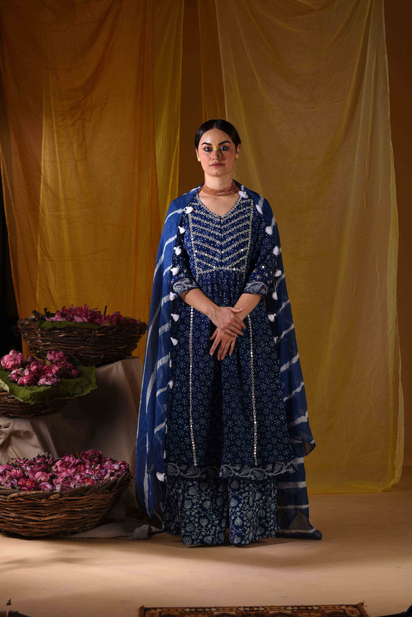 Kalidar with sharara and duppata - Monsoon.thedesignerstore