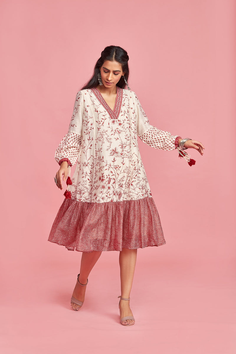Katha Linen V Neck Dress  - Monsoon.thedesignerstore