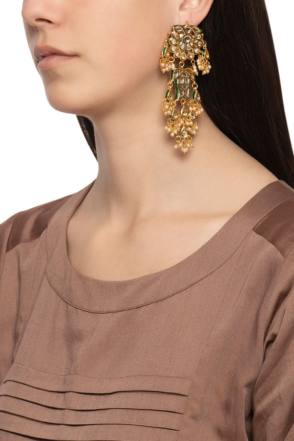 Kundan and Baby Pearl Long Danglers - Monsoon.thedesignerstore