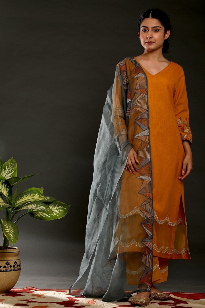 Mustard Pyramid suit with Emb Dupatta - Monsoon.thedesignerstore