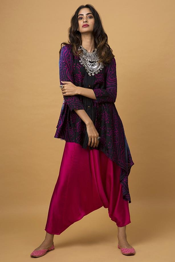 Navy Blue Ombre Waterfall Shirt & Fuscia Pink Cowl Pants - Monsoon.thedesignerstore