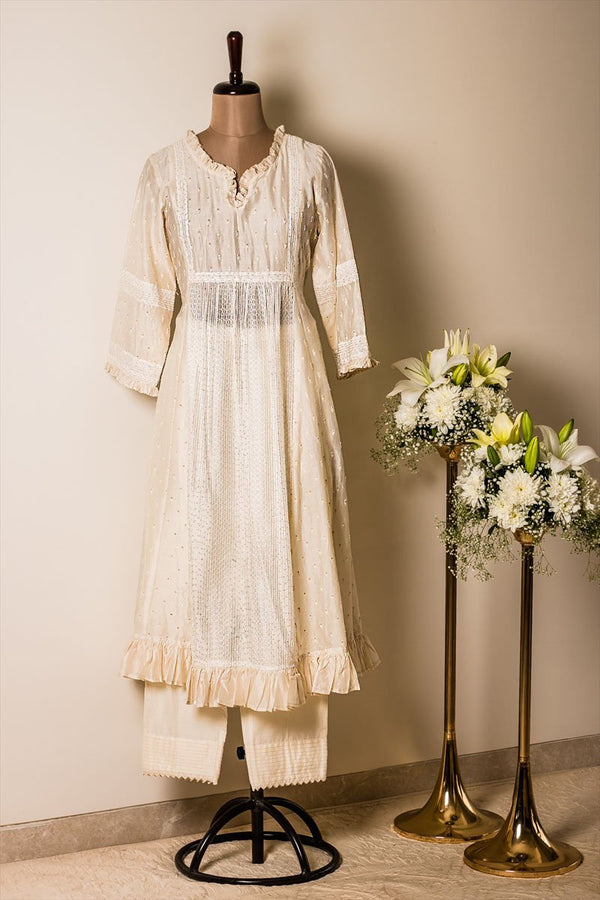 Off-white Chanderi Embroidered Tunic (with Pants Optional) - Monsoon.thedesignerstore
